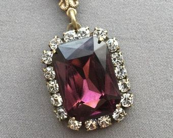 Rhinestone Necklace - Rhinestone Pendant - Purple Necklace - Vintage Rhinestone Jewelry - Crystal Necklace - Amethyst Jewelry - Gift for Her