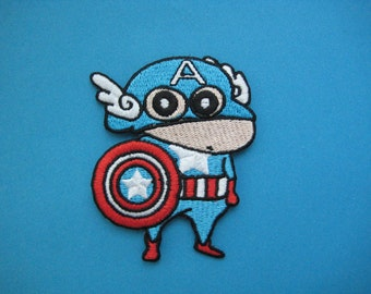 SALE~ Iron-on Patch Crayon Shin-chan as Captain America 3.1 inch