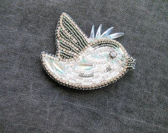 Brooch Bird Silver White Blue Gray Bead Embroidered Brooch Beaded Pin Pendant