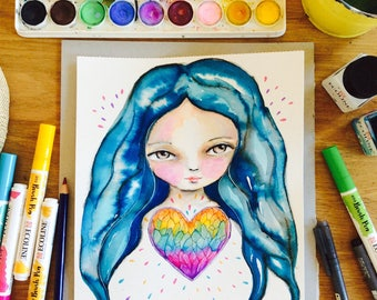 Crystal rainbow heart - alignment, girl watercolor painting, spiritual art, sacred space art, crystal, blue hair girl, watercolor wall art