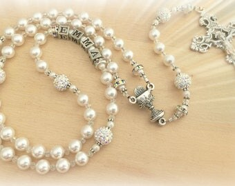 Personalized Communion Rosary with Radiant Sparkling Rhinestone Beads, Swarovski White Pearls and Crystals - Heirloom Quality