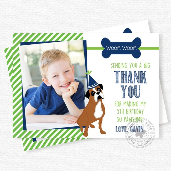 Boxer dog thank you card photo thank you card puppy party thank il570xn bookmarktalkfo Image collections