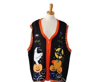 50% half off sale // Vintage 90s Halloween Sweater Vest - Women 3X - potion, black cat, ghost Sequins