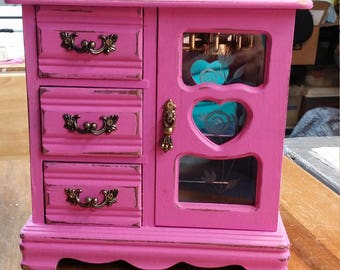 Repurposed Shabby Chic Vintage Pink Jewelry Box