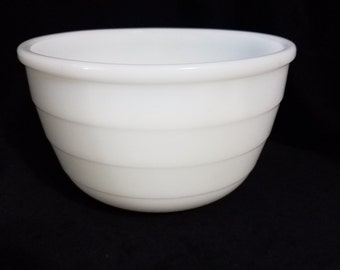 LAST CHANCE - Vintage GE Mixer bowl, White Small ribbed bowl.