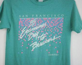 San Francisco Bay to Breakers Tshirt 85 Examiner Turquoise Small