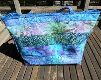 Large Blue and Purple Batik Handbag/Shoulder Bag OOAK