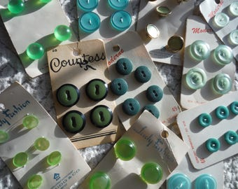 Vintage BUTTONS on cards blues greens sewing supplies crafts hobby from MyGypsyCottage on Etsy