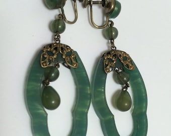 Art Deco Spinach Green Celluloid Dangle Earrings 1940s Jewelry