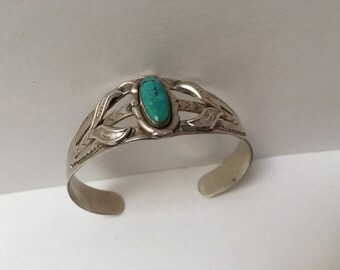 Bell Trading Post Fred Harvey Sterling Silver Turquoise Cuff Bracelet