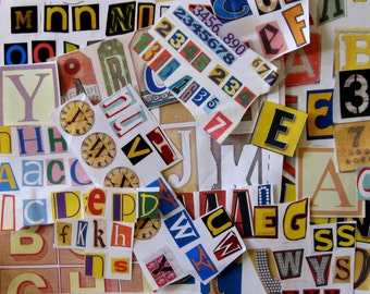 Alphabetical letters and numbers. Ephemera.  Scrapbooking, collages. Art supplies. Decoupage.