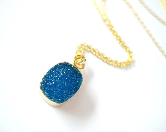 22k Electroplated Blue Druzy Agate Necklace