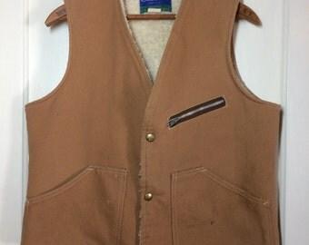 Vintage 1970's Carter's brand made in USA Canvas Duck Cloth fleece lined Work Vest size Medium Talon zipper tan beige