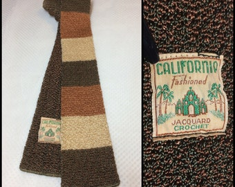 Vintage 1940's California Fahioned Jacquard Crochet silky rayon Square End Necktie Skinny Tie Brown green Rust Cream wide horizontal stripes