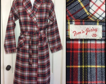 1950's Red White Blue Yellow Plaid long belted Robe Smoking Jacket size 20 Small Tom and Jerry brand barely used excellent condition