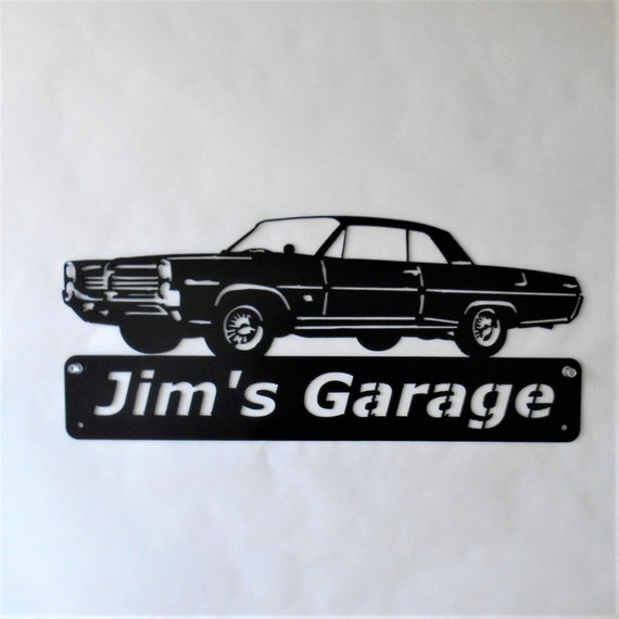 1964 Pontiac Catalina Personalized  Man Cave Metal Sign Garage Art Satin Black