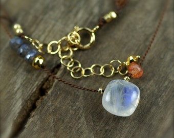 Moonstone, Mystic Labradorite, Sunstone, and Golden Pyrite Gemstone Necklace. Simple Silk Necklace. Hand Knotted Silk Necklace.