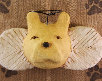 French Bulldog Angel Ornament OOAK, hand-sculpted from papier mache,Frenchie Angel