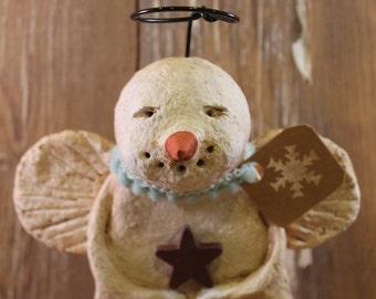 Primitive Snowman Angel, OOAK, handmade from paper mache, SNOWMAN ANGEL