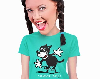 kitten t-shirt for women meowtant kitty cat lover cool retro t-shirt design gift for geeks teen college girls mom tshirt fans of cats s-2xl