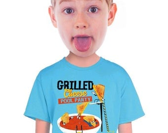 grilled cheese t-shirt, for fans of , tomato soup, soup and sandwich, kids who like grilled cheese, quirky kids tee, graphic tee, funny tee