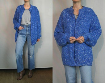 Chunky Marled MOHAIR Zip Up Cardigan Sweater