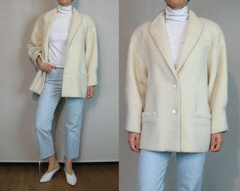 Ivory Mohair Coat / Off White Wool Coat