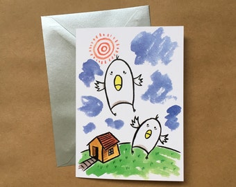 Greeting Card - Chicks in Flight (FREE DOMESTIC SHIPPING)