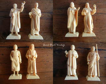 Vintage Plastic Dashboard Religious Figures Catholic Saints and Jesus santos figurines molded Peter Paul Matthew Judas Phillip