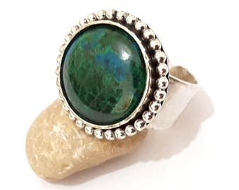 One Of A Kind Hand Made Adjustable Eilat Stone Ring  King Solomon Stone 925 Sterling Silver  Ring Israel