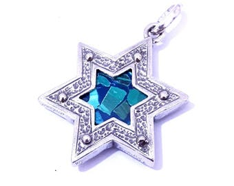 925 Sterling Silver Eilat Stone King Solomon Star of David Pendant Necklace