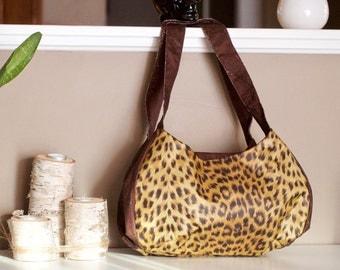 Leopard Print Three Pocket Purse, Hobo Bag, Shoulder Purse, Brown vinyl leopard print fabric