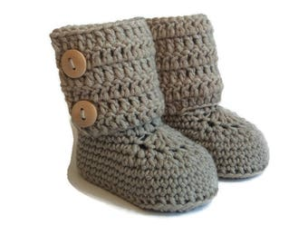 Gray Baby Booties, Tall Knitted Baby Booties, Knit Baby Booties, Crochet Baby Booties, Silver Gray Merino Wool, Baby Gift Warm and Woolly