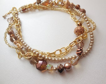 Champagne pearl bronze gold chain chunky twisted statement necklace