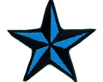 Blue Nautical Star Patch Iron on Applique Alternative Clothing Tattoo Rockabilly - YDS-EMPA-048-BLUE-Patch
