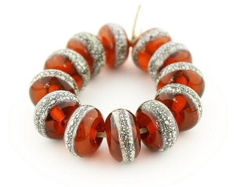 Sheribeads Glass Beads 12 Transparent Amber with Silvered Ivory Spacers Lampwork Brown