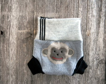 Upcycled Wool Soaker Cover Diaper Cover With Added Doubler Gray/ Black With Monkey Applique SMALL 3-6M Kidsgogreen