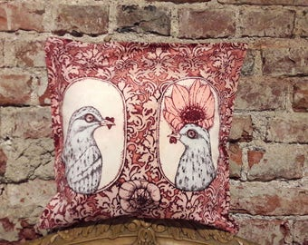 Original Graphic Art Design 17 x 17 inches Decorative Home Decor Pillow Cover 'He and She'