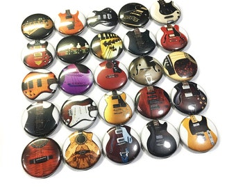 "Guitar Magnet, 1"", 1.5"", Button Magnet, Guitar Decor, Guitar Theme, Guitars, Guitar Party Favor, Guitar Gift, Guitar Button, Guitars, Magnet"
