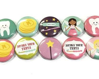 "Tooth Fairy Magnet, 1"" Button Magnet, Fairy Magnet, Tooth Fairy Party Favor, Tooth Fairy Theme, Tooth Fairy Decor, Dental Care Decor, Teeth"