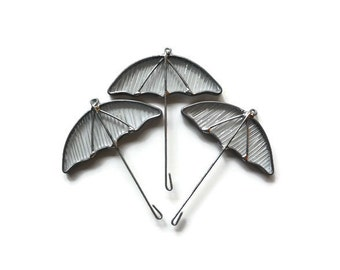 Clear Textured Glass Umbrellas - Set of 3 Rain Theme Suncatchers