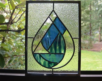 Stained Glass Raindrop Panel in Slate Blue - Window Suncatcher