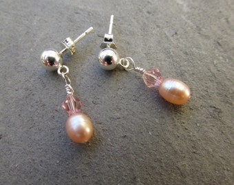 Tiny pink pearls, post stud earrings, freshwater pearls, glass crystals, Sterling silver, petite dainty, dangle earrings