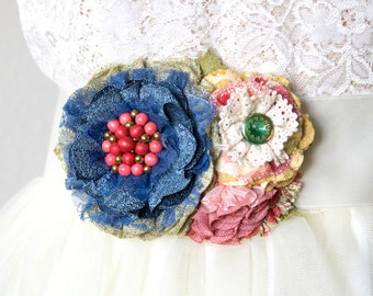 Floral Wedding Belt, Colorful Bridal Sash with Blue, Coral and Pink Flowers, Fabric Flower Brooch for Wedding Gown, Bridesmaid Corsages