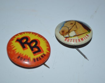 2 x 1953 Posts Grape Nuts Flakes Pinback button Roys brand and Buttermilk badge