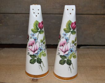 Vintage rose salt and pepper set - Royal Stuart - bone china made in England