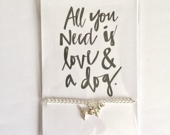 All You Need Is Love And A Dog - Silver dachshund Bracelet