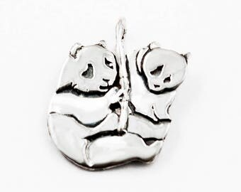 Panda and Cub Sterling Silver Pendant