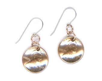 40th Birthday Gift 40th Anniversary 1977 Penny Earrings Coin 1977 Earrings Copper Dangle Earrings Dangle Coin Earrings
