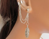 On Sale Ear Cuff Earrings Silver Double Chain Large Feather Gift Under 15